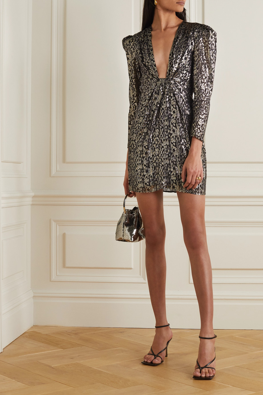 IRO Ribunea ruched metallic fil coupé silk-blend mini dress