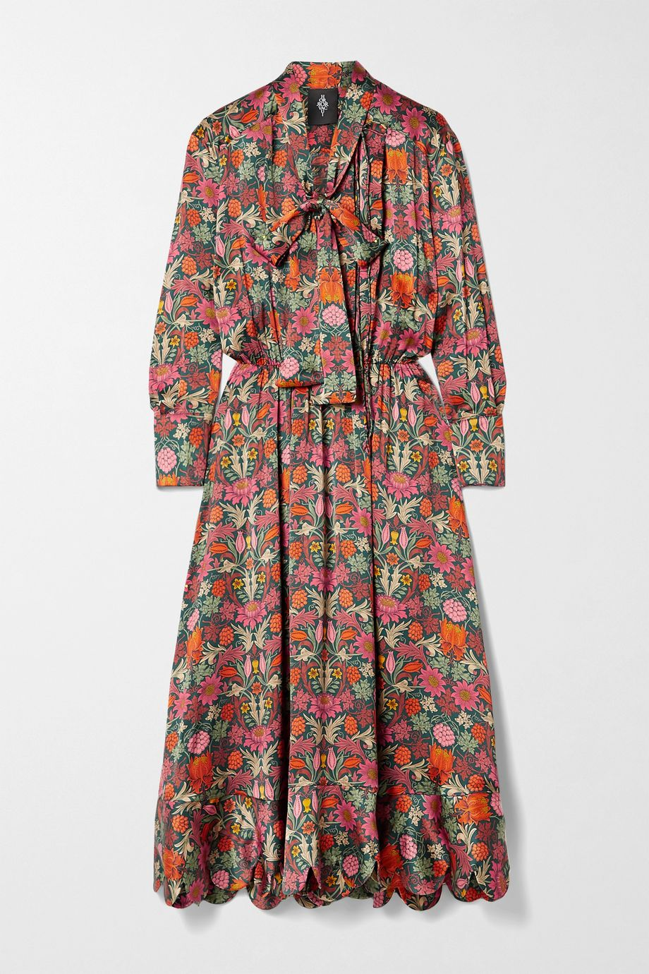 Horror Vacui Sidonia scalloped floral-print silk-satin midi dress