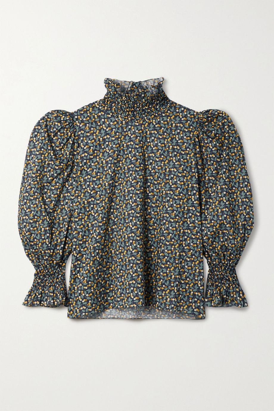 Horror Vacui Collia ruffled printed cotton-poplin blouse