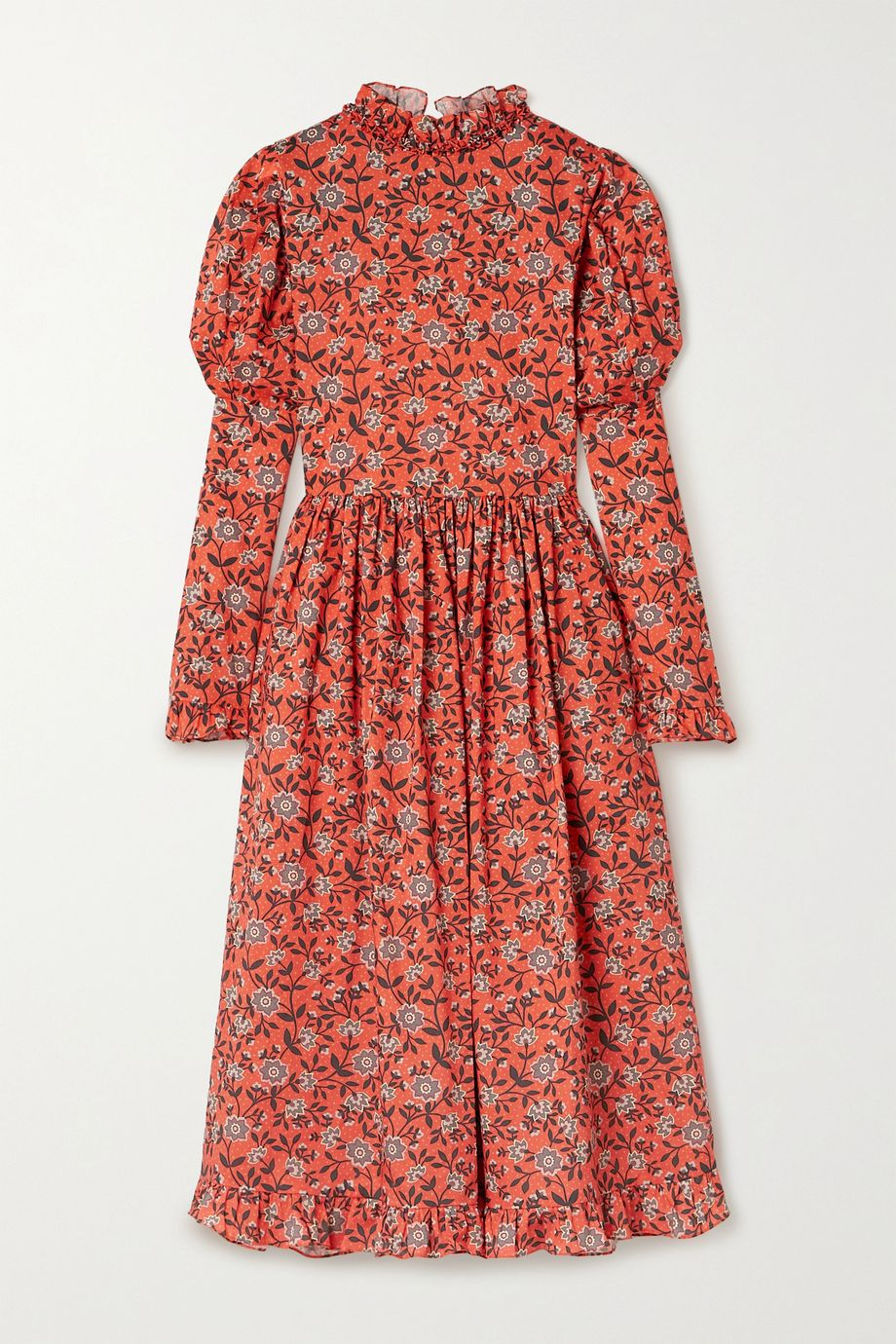 Horror Vacui August ruffled floral-print cotton midi dress