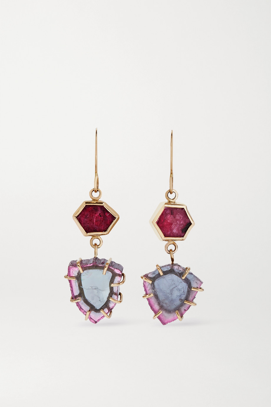 Melissa Joy Manning 14-karat gold, tourmaline and ruby earrings