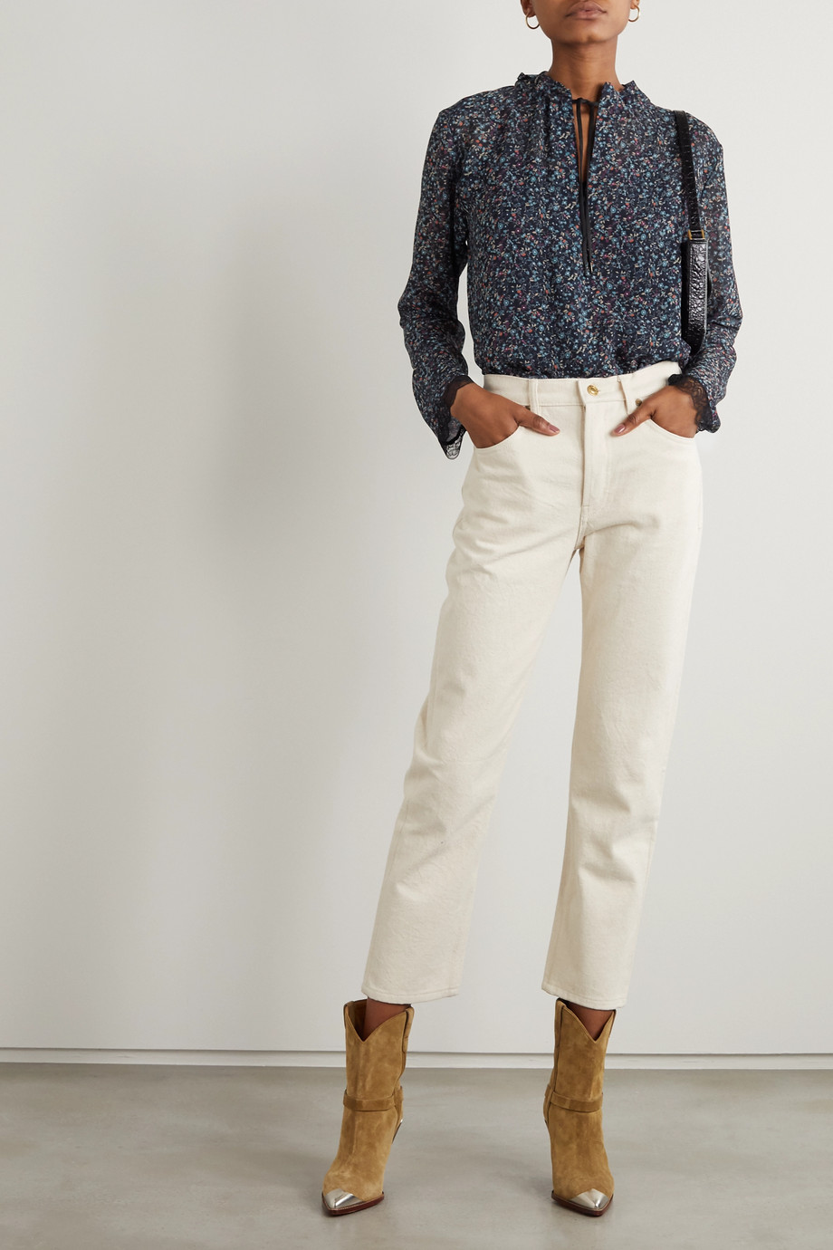 See By Chloé Tie-neck lace-trimmed floral-print georgette blouse