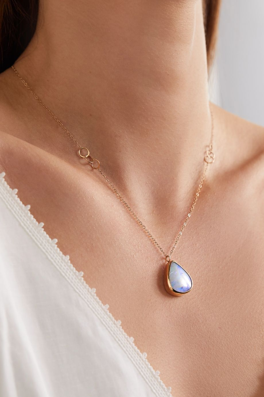 Melissa Joy Manning 14-karat gold opal necklace