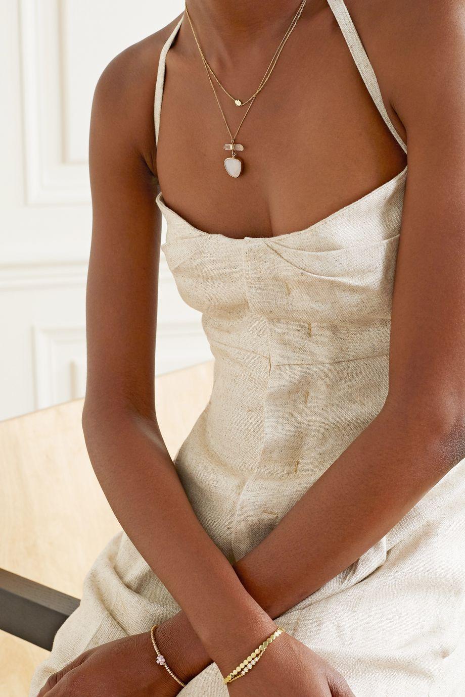 Melissa Joy Manning 14-karat gold, sterling silver, amethyst and opal necklace