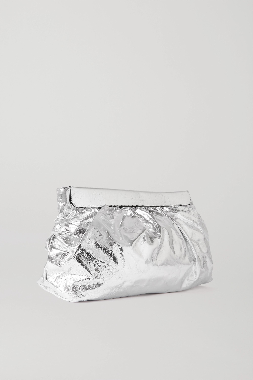 Isabel Marant Luzel große Clutch aus Metallic-Leder in Knitteroptik mit Nieten