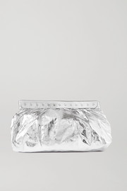 Isabel Marant Luzel large studded metallic crinkled-leather clutch