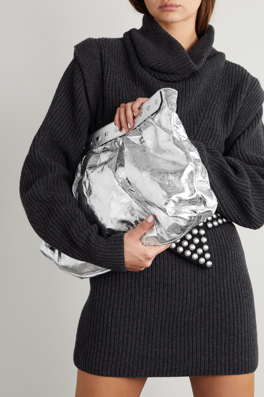 Isabel Marant Luzel large studded metallic crinkled-leather clutch