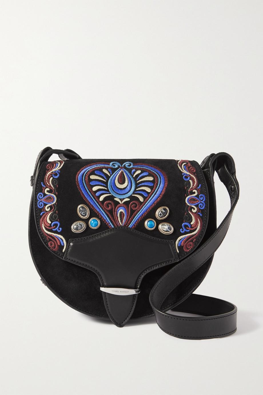 Isabel Marant Botsy Schultertasche aus besticktem Veloursleder mit Lederbesätzen und Verzierungen