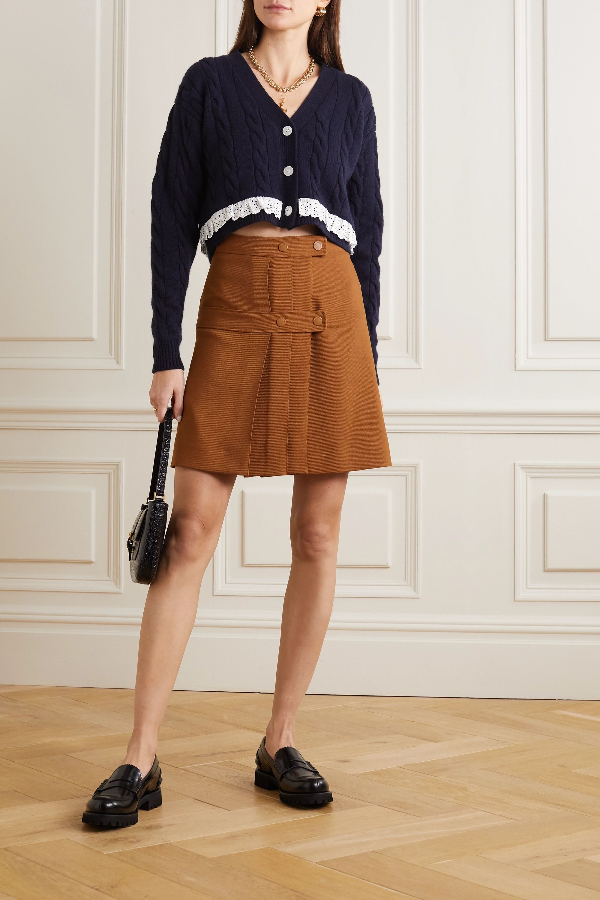 See By Chloé Pleated twill wrap mini skirt