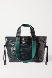 Isabel Marant Bagya crinkled patent-leather and canvas tote