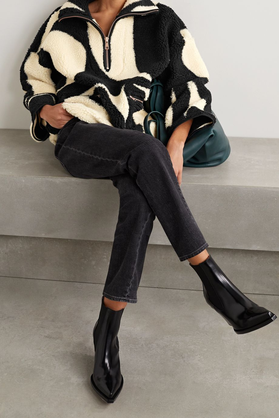 See By Chloé Oversized printed fleece jacket