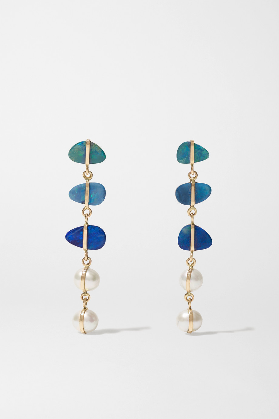 Melissa Joy Manning Levity 14-karat gold, pearl and opal earrings