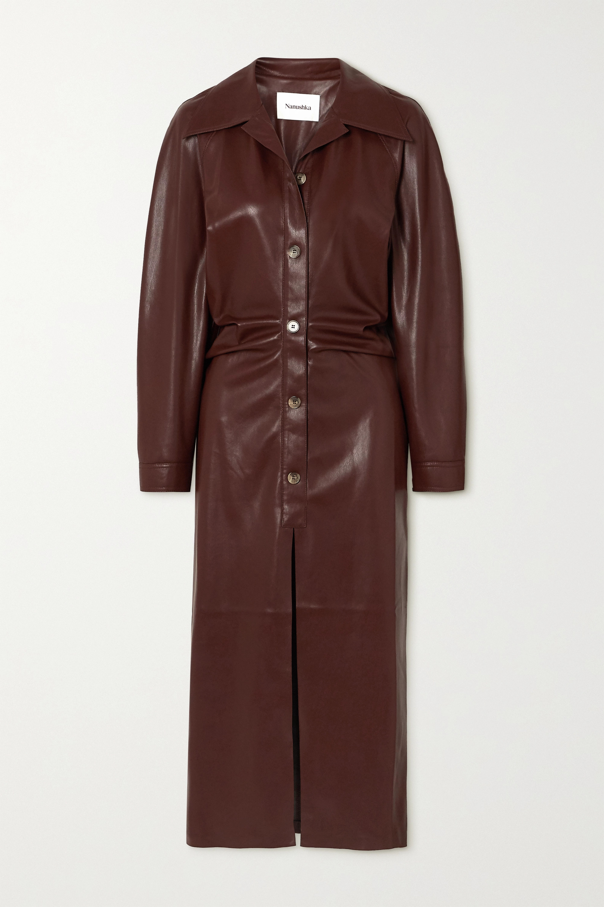 Nanushka Sami ruched vegan stretch-leather shirt dress