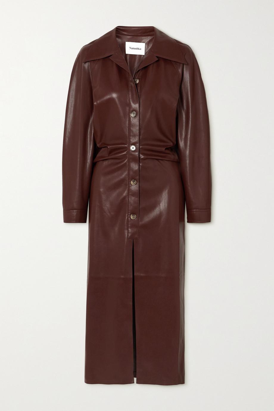 Nanushka Sami 褶饰纯素弹力皮革衬衫式连衣裙