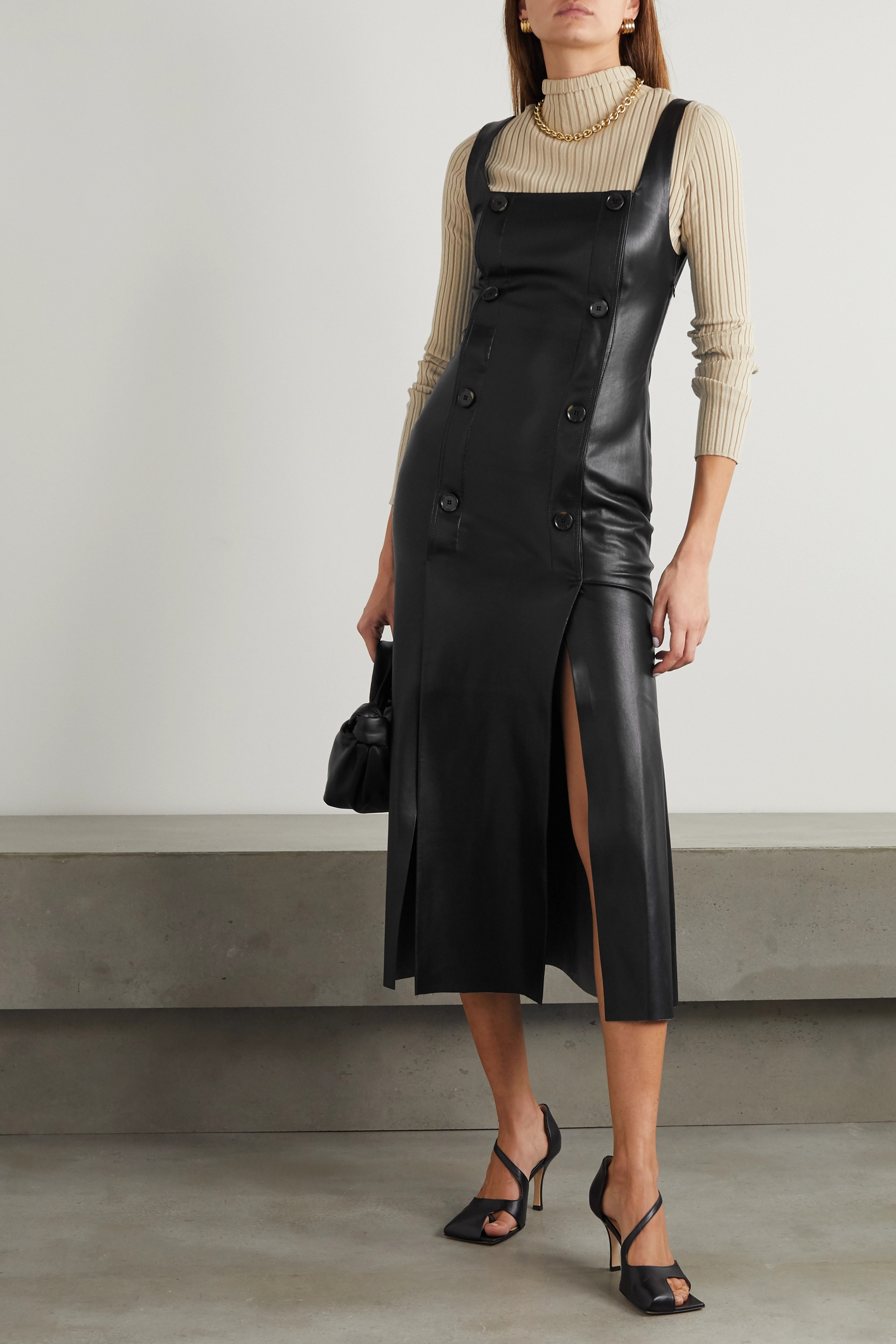 Nanushka Allie button-detailed vegan stretch-leather dress