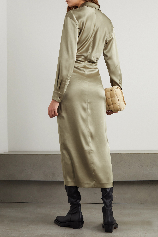 Nanushka Kinsley ruched satin shirt dress