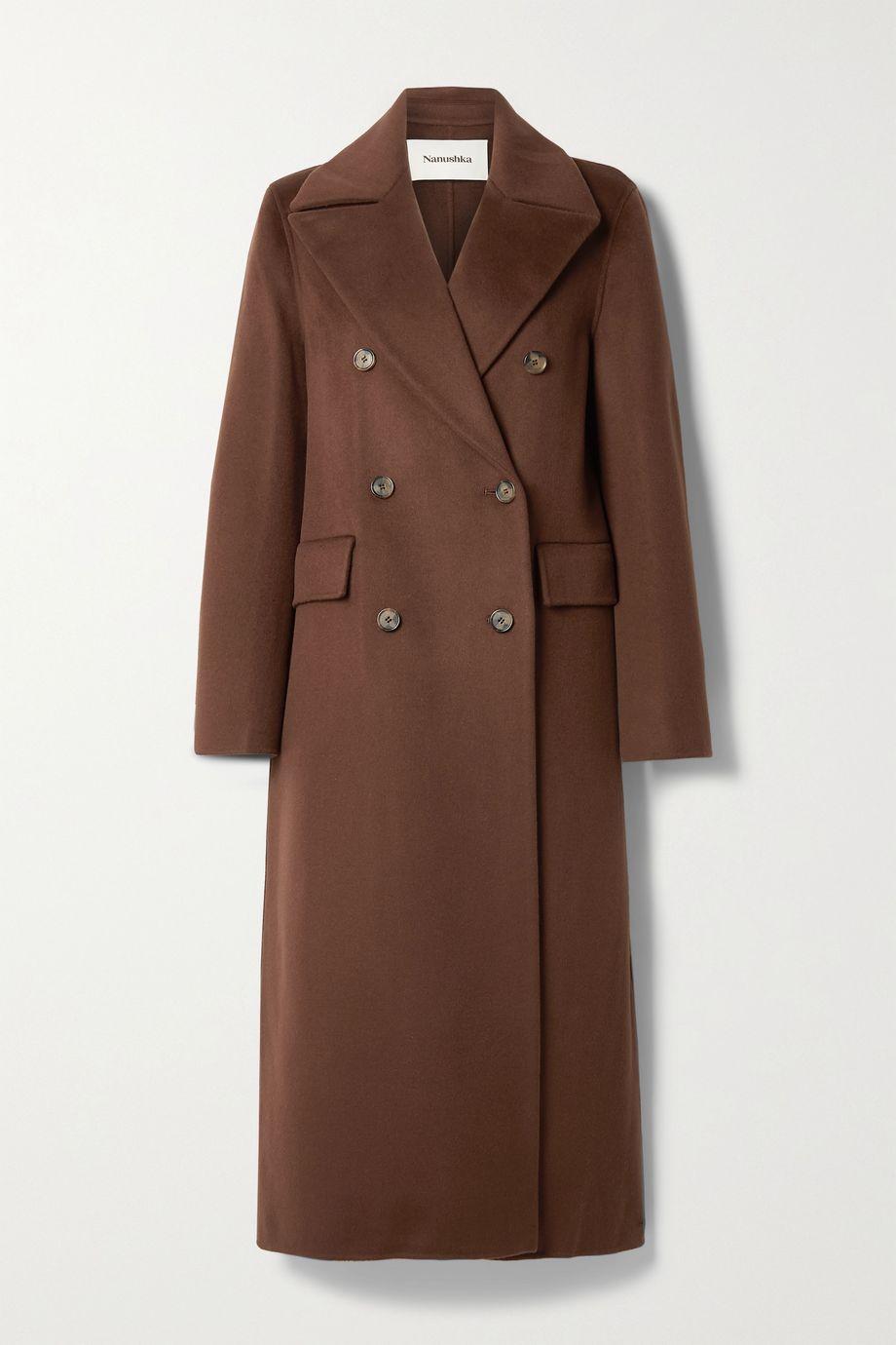 Nanushka Doppelreihiger Mantel aus Filz aus einer Woll-Seidenmischung