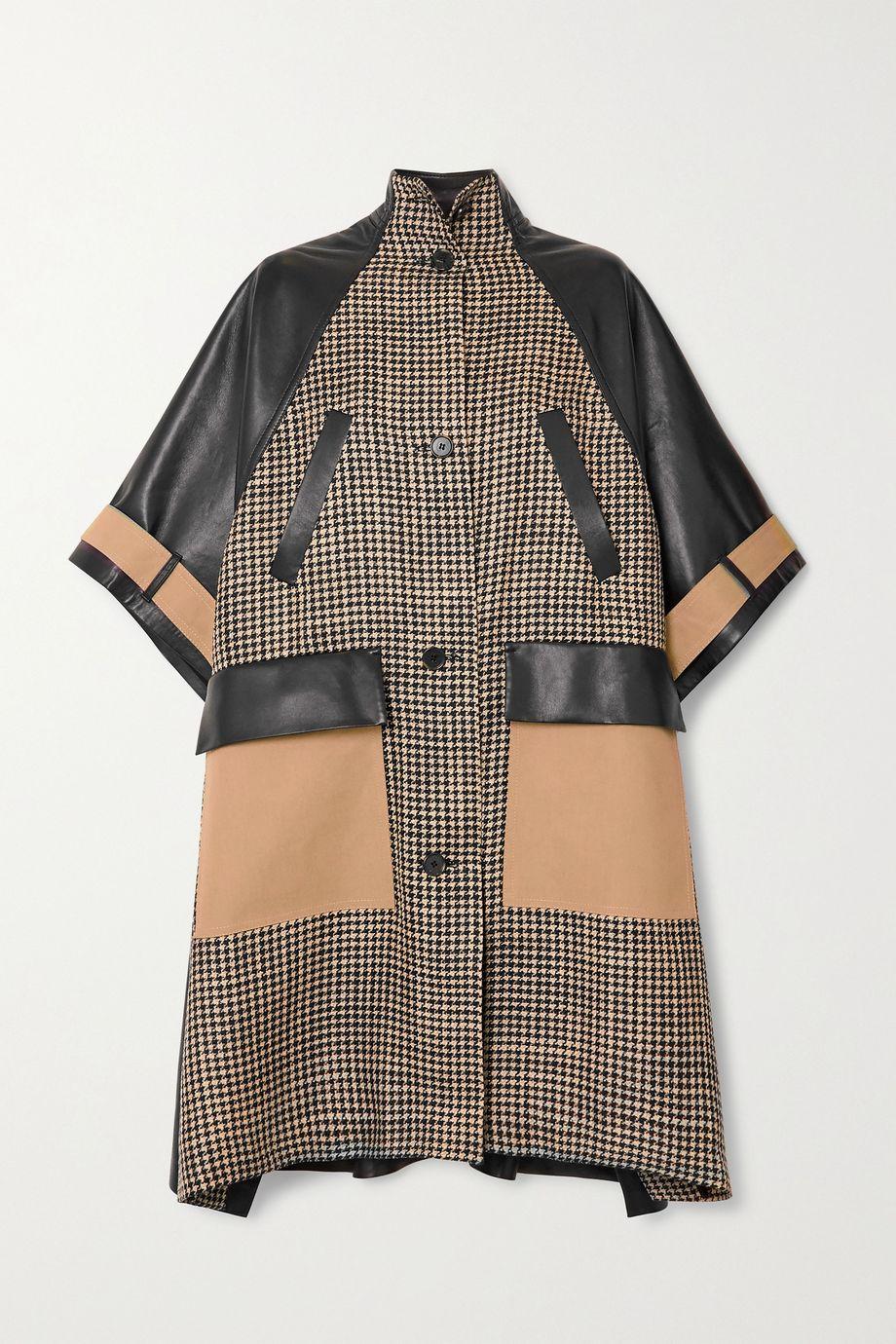 Nanushka Nyree houndstooth tweed, gabardine and leather coat