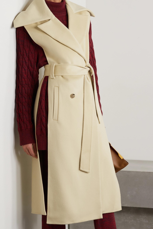 Nanushka Nura double-breasted belted wool and silk-blend felt vest