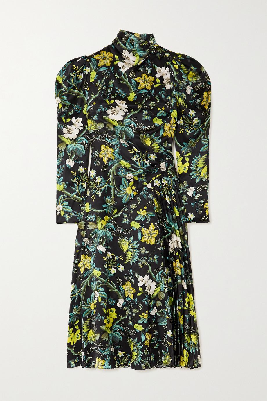 Erdem Irwin 褶裥花卉印花丝缎中长连衣裙