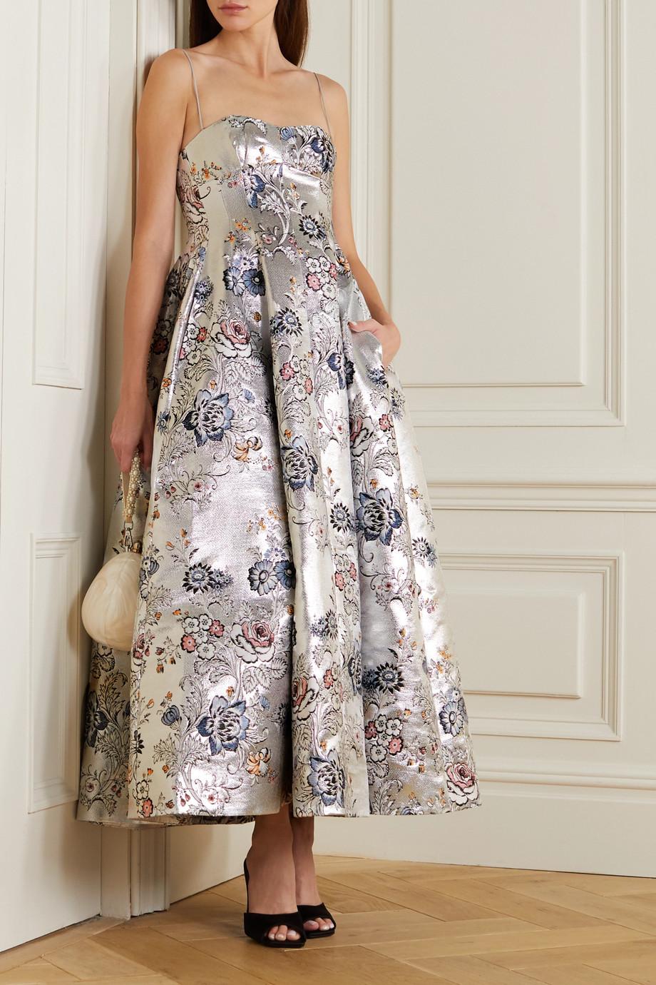 Erdem Adalyn metallic floral-jacquard gown