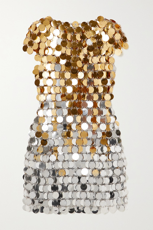 Paco Rabanne Two-tone chainmail mini dress