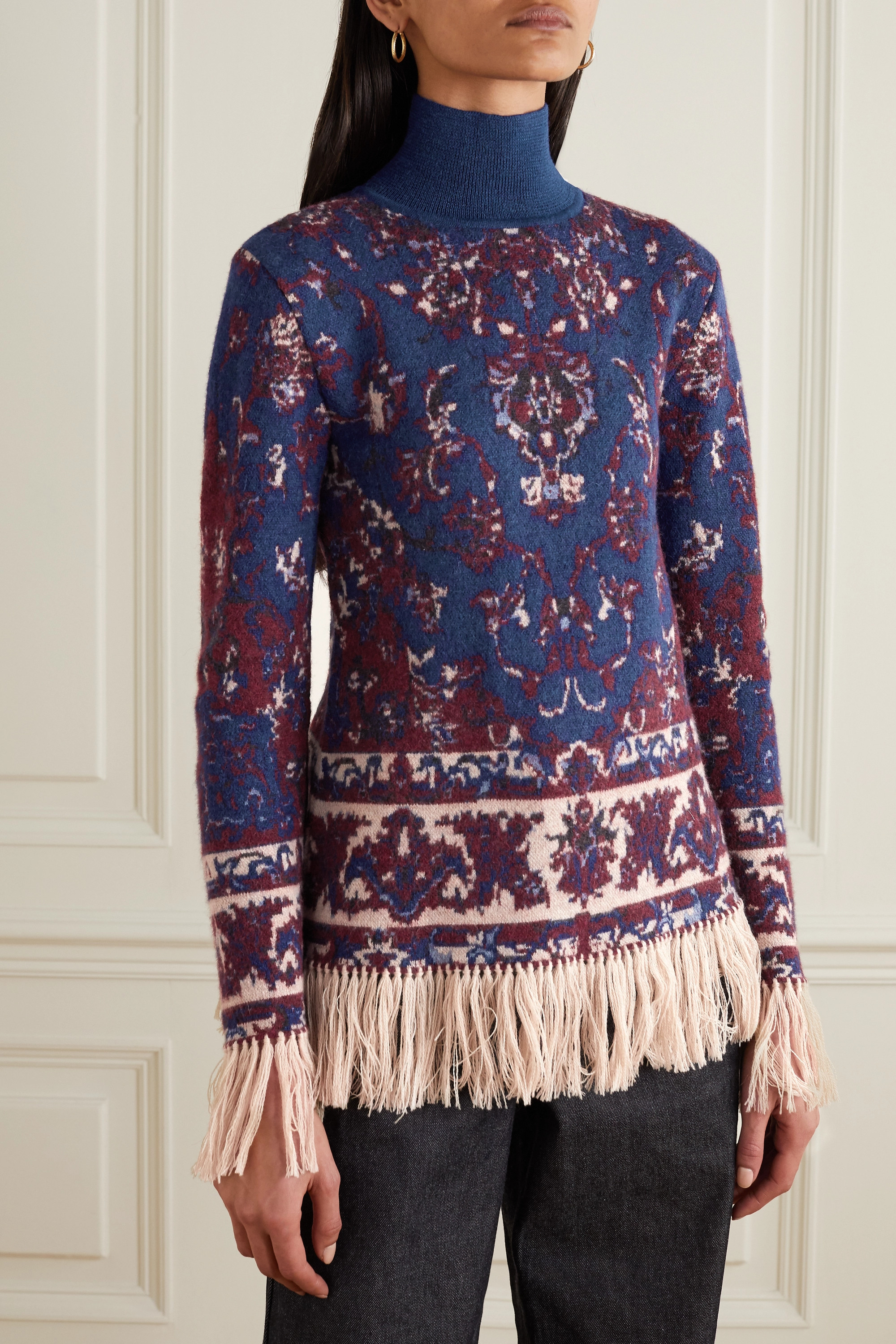 Paco Rabanne Fringed intarsia alpaca, cotton and wool-blend turtleneck sweater