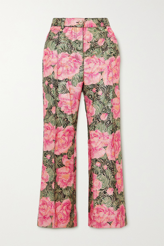 Paco Rabanne Cropped metallic floral-jacquard straight-leg pants