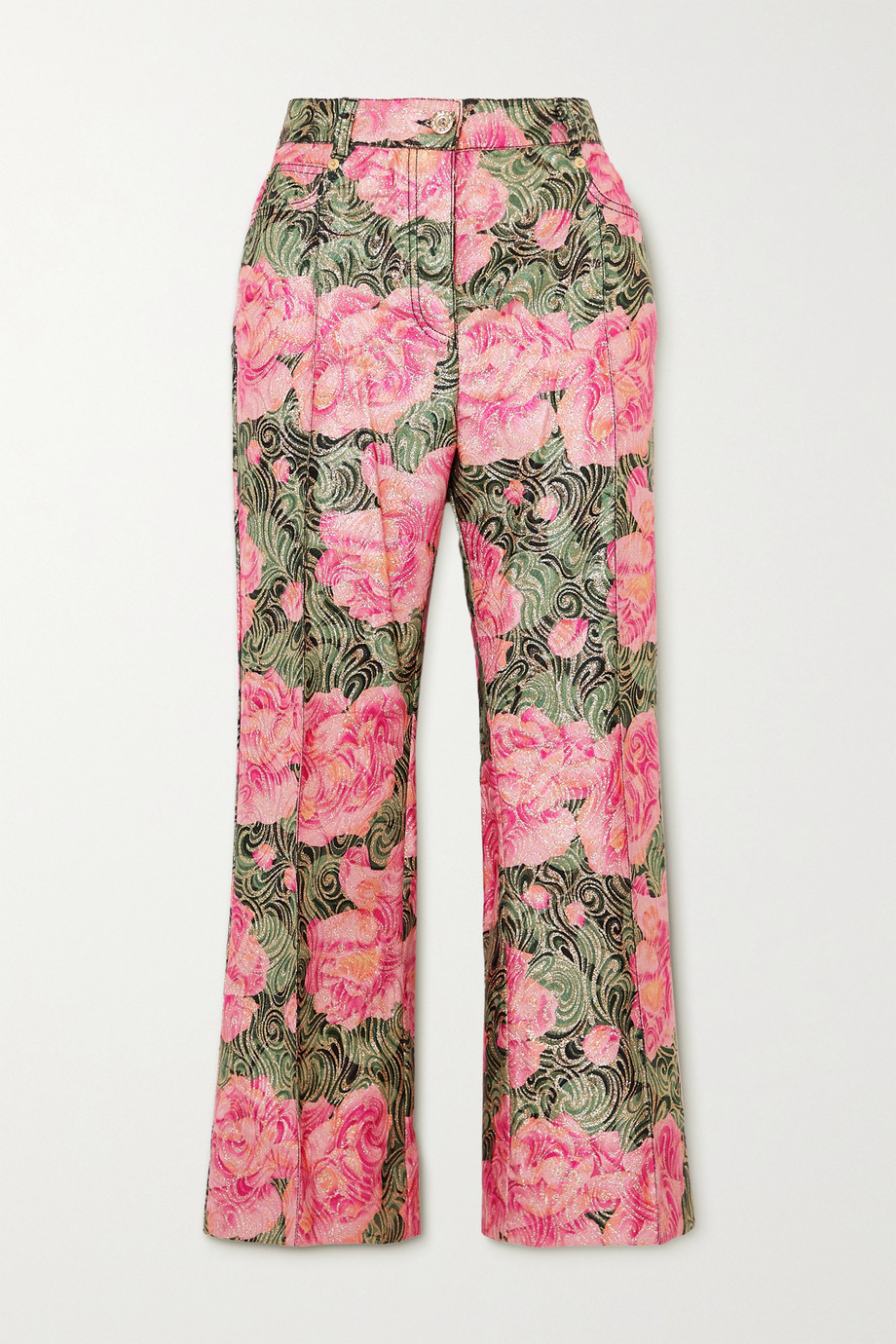 Paco Rabanne Cropped metallic floral-jacquard straight-leg pants