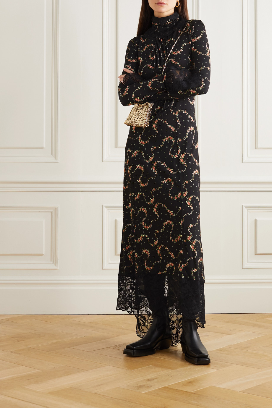 Paco Rabanne Asymmetric lace-trimmed floral-print stretch-jersey maxi dress