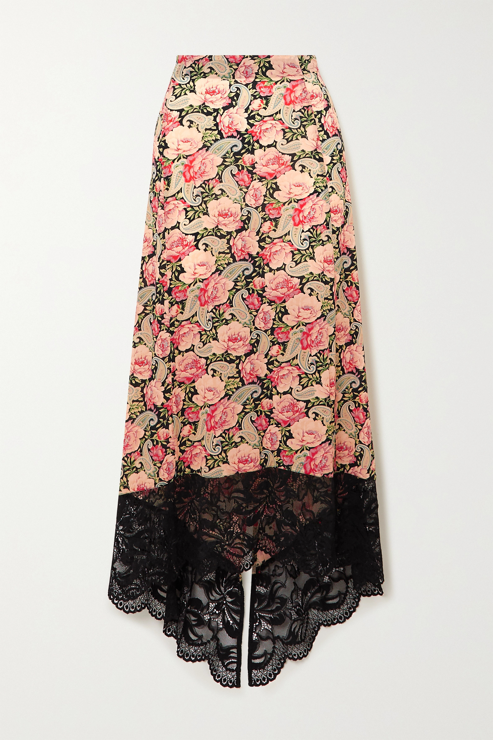 Paco Rabanne Asymmetric lace-trimmed floral-print stretch-jersey skirt