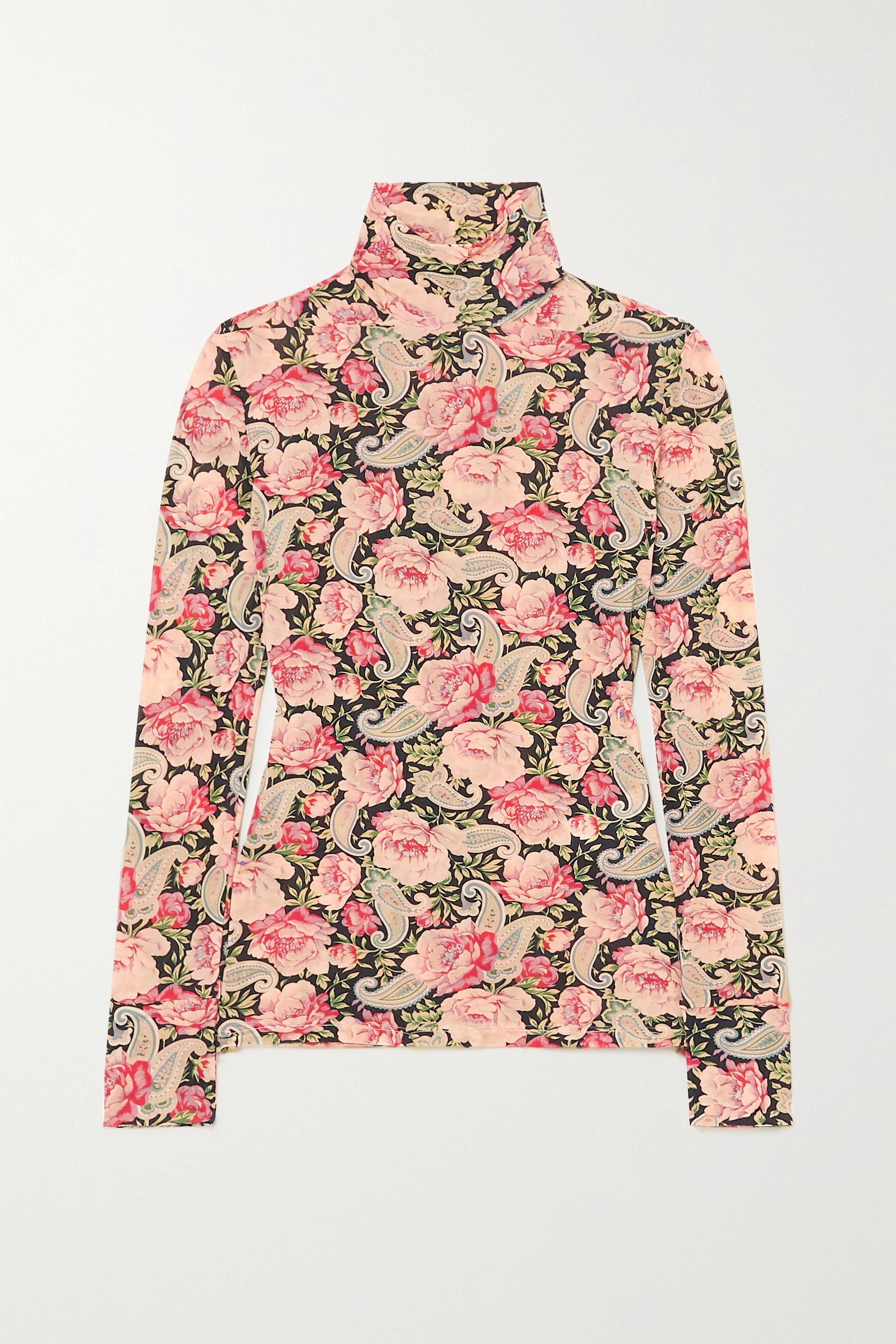 Paco Rabanne Floral-print stretch-jersey turtleneck top
