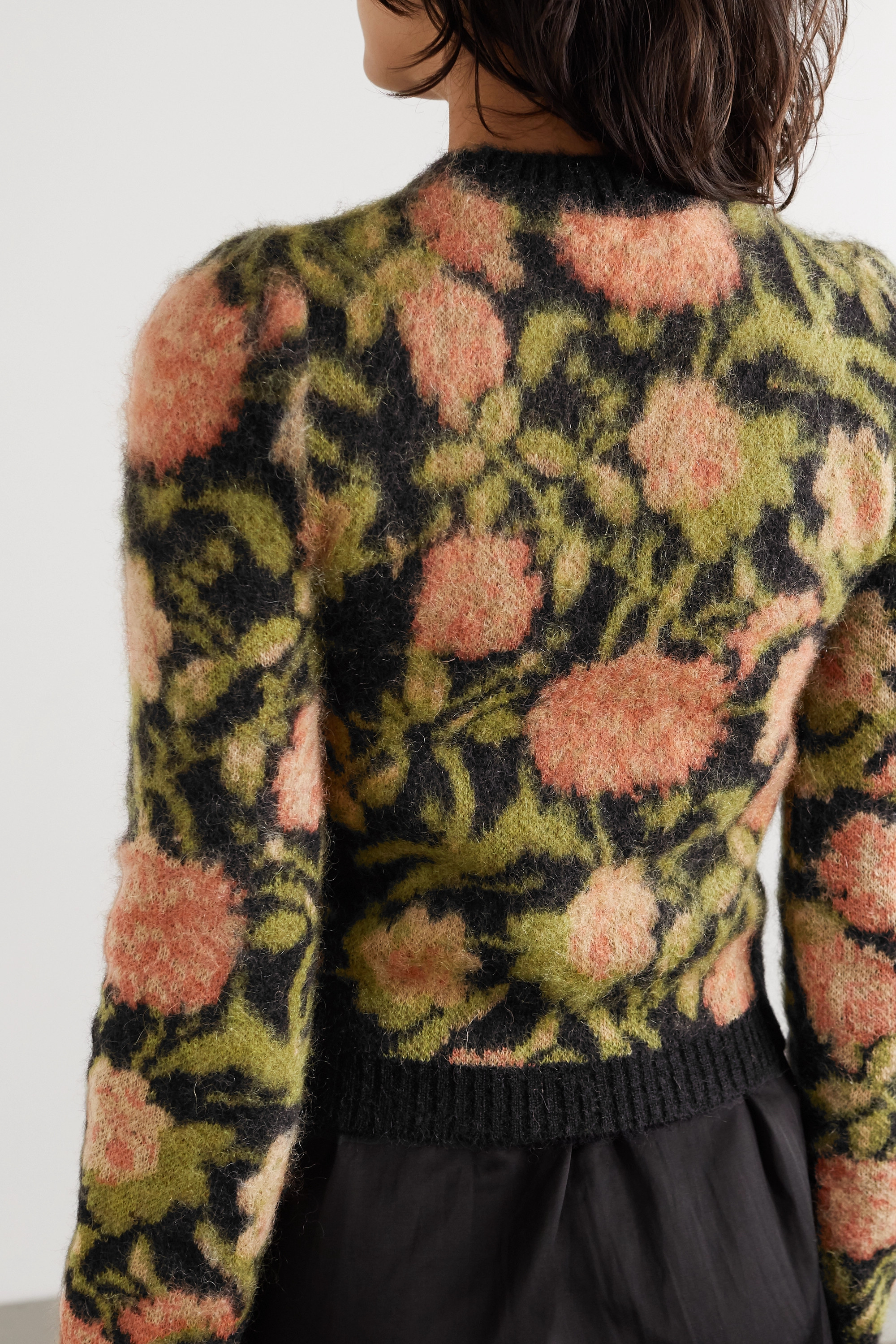 Paco Rabanne Floral-intarsia mohair-blend sweater