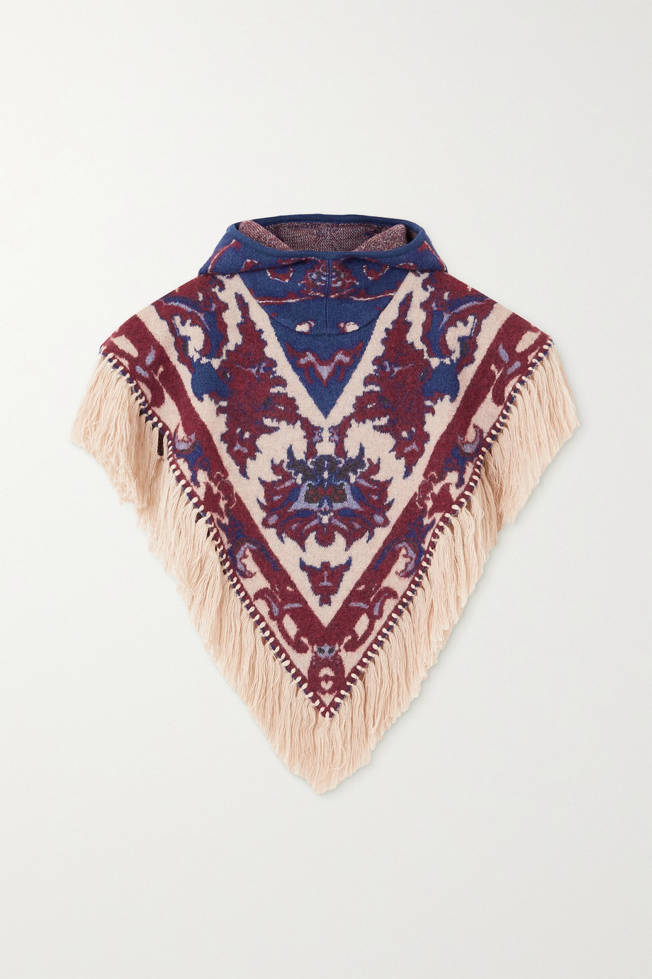 Paco Rabanne Hooded fringed intarsia alpaca, cotton and wool-blend poncho