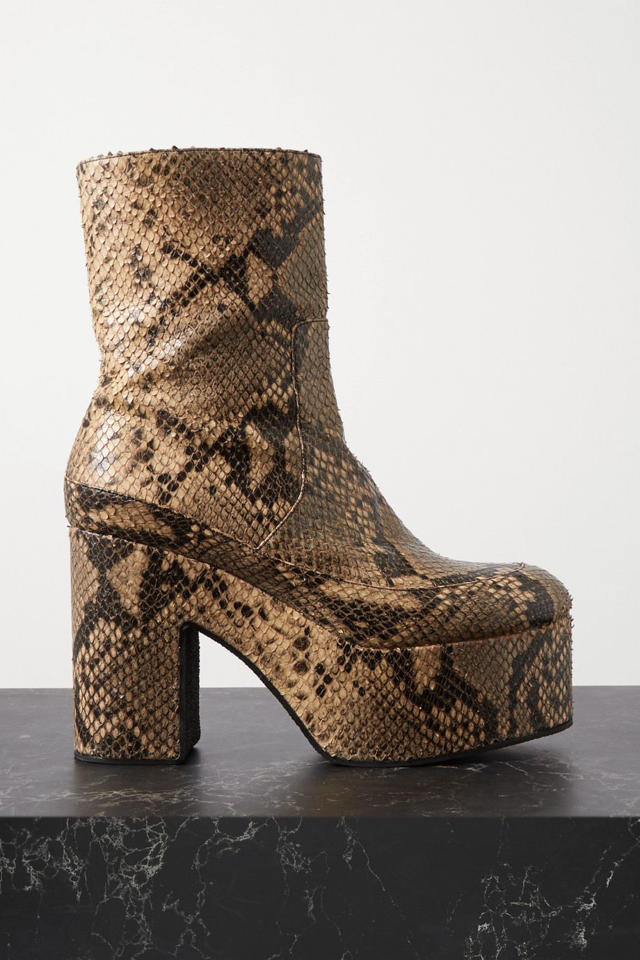 Dries Van Noten Snake-effect leather platform ankle boots