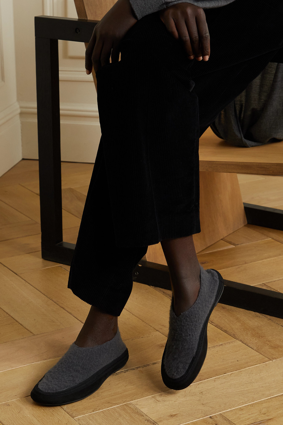 The Row Fairy grosgrain and suede-trimmed cashmere slippers