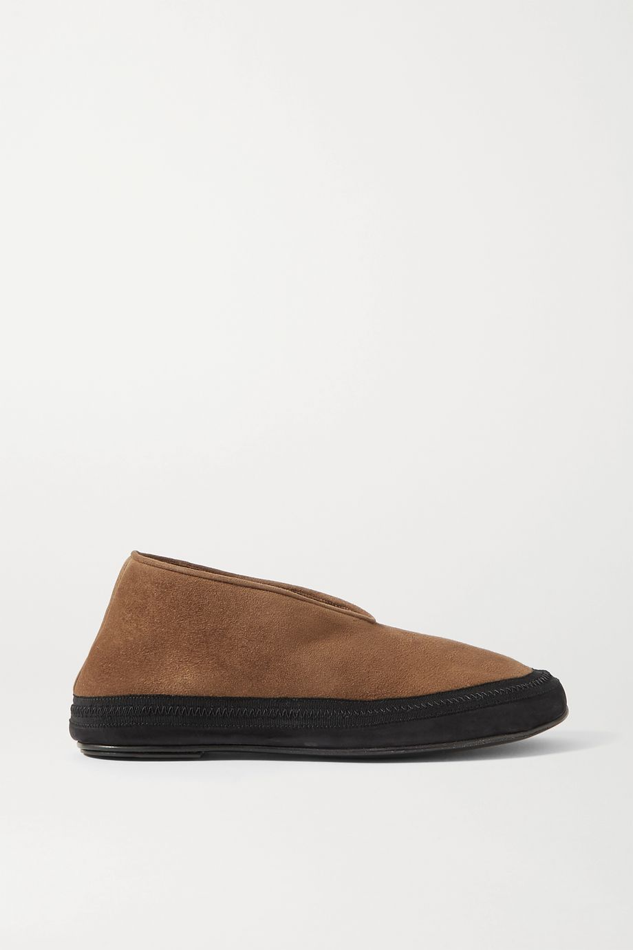 The Row Fairy grosgrain and suede-trimmed shearling slippers