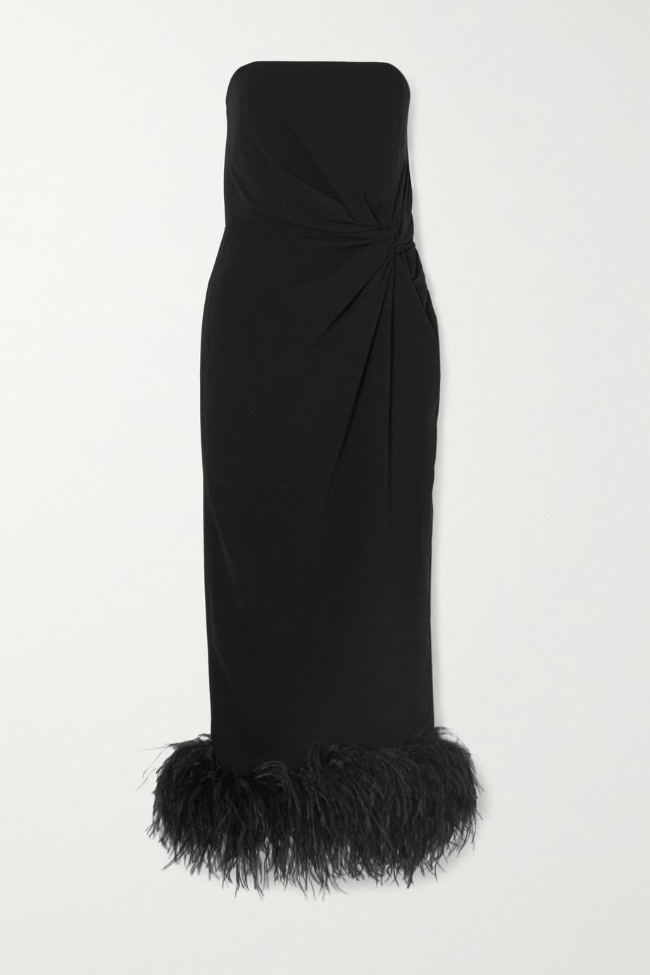 16ARLINGTON Himawari strapless feather-trimmed knotted crepe midi dress
