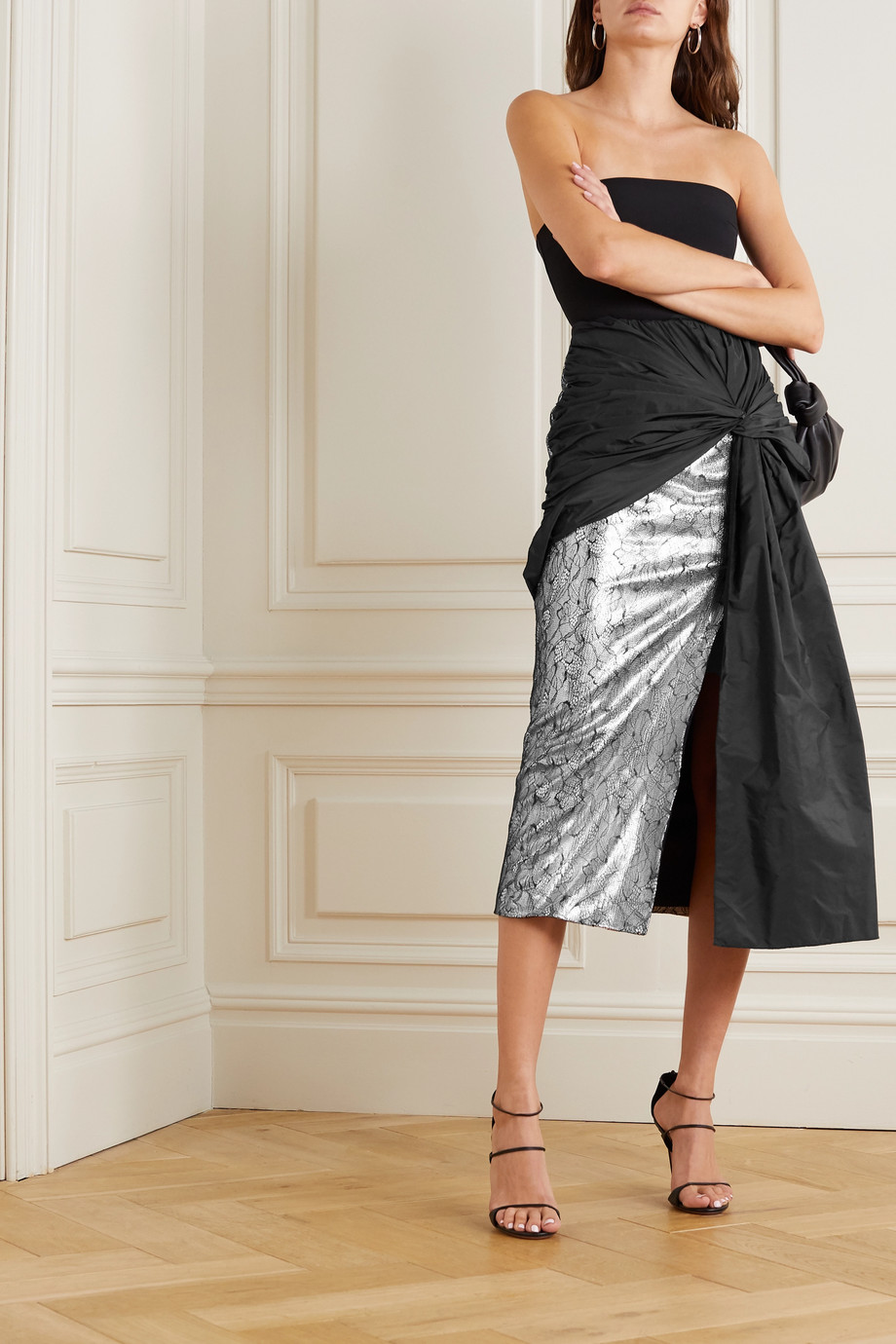 16ARLINGTON Shulan knotted shell, lace and sequin-embellished satin midi skirt