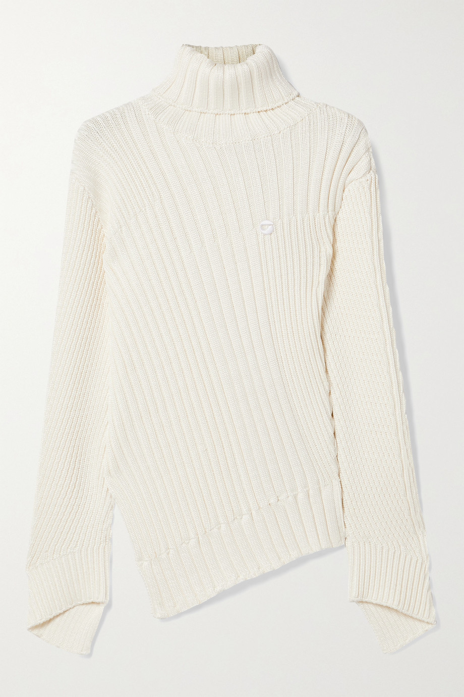 Coperni Rib Mix Motion asymmetric ribbed-knit turtleneck sweater