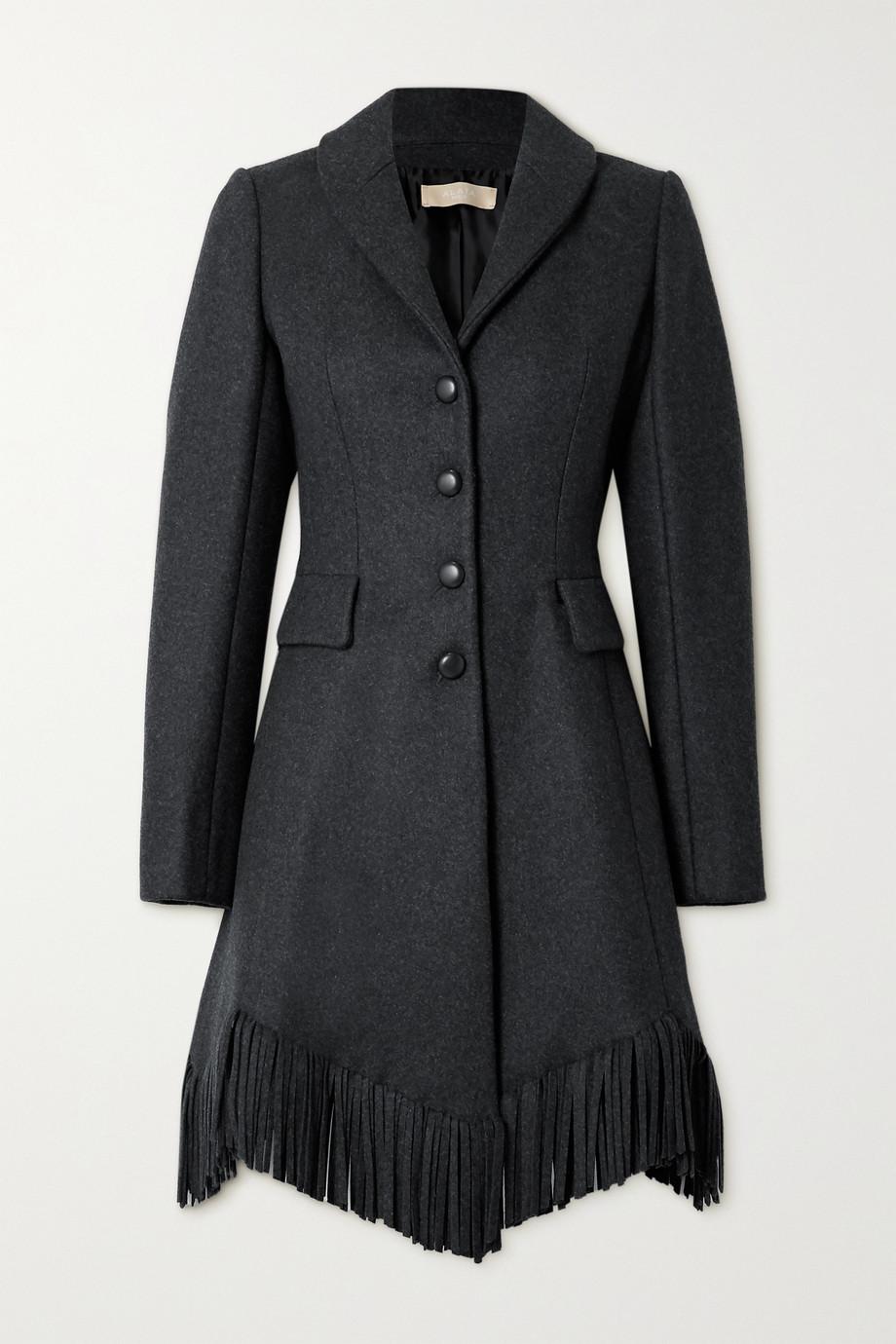 Alaïa Manteau en laine et cachemire mélangés à franges