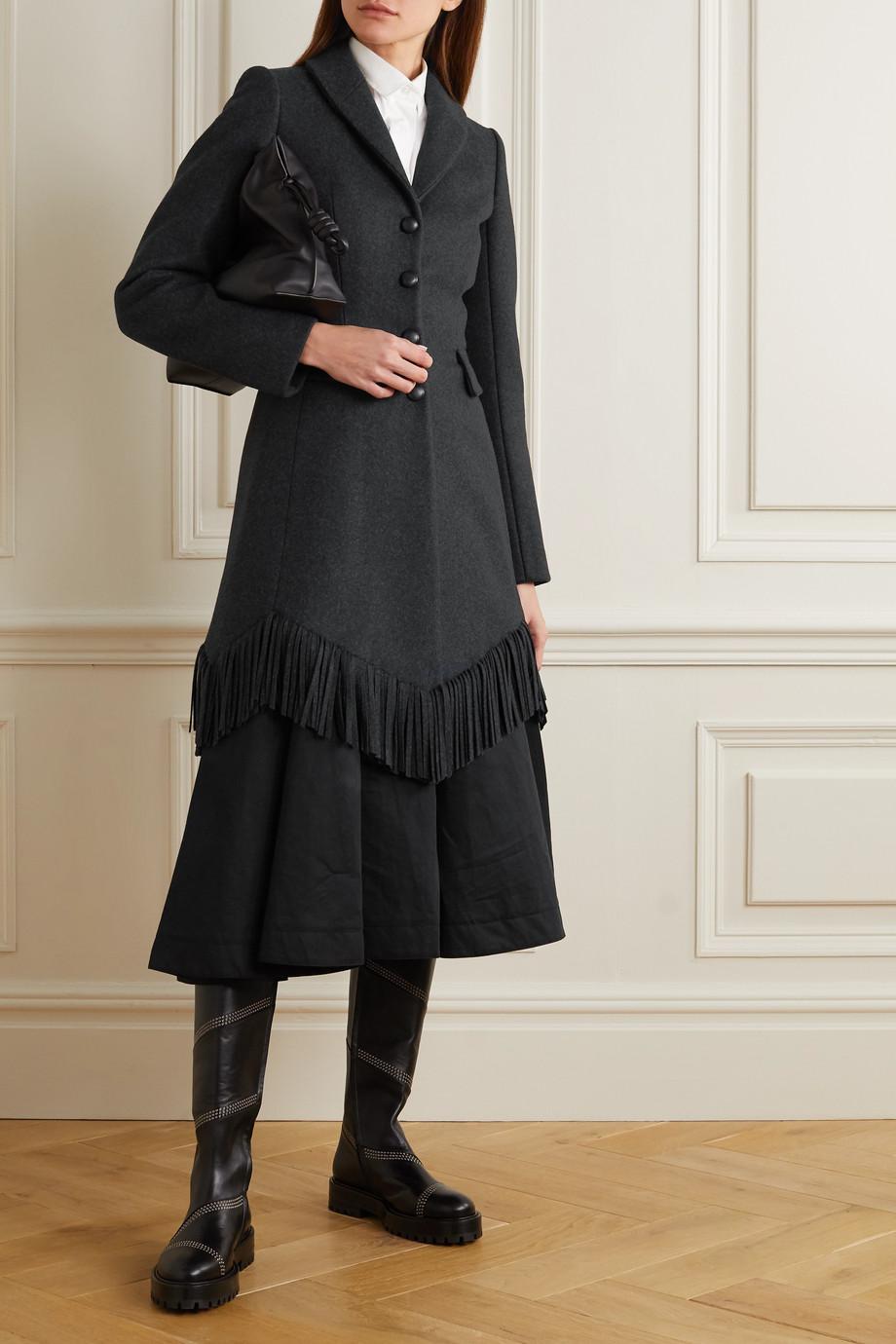 Alaïa Fringed wool and cashmere blend coat