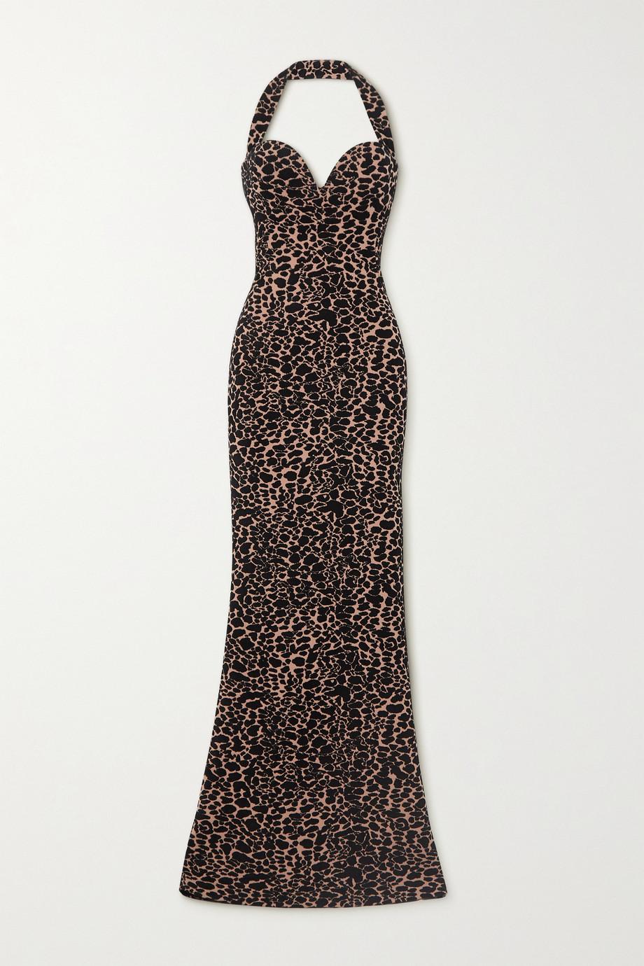 Alaïa Robe du soir dos nu en mailles jacquard à motif léopard