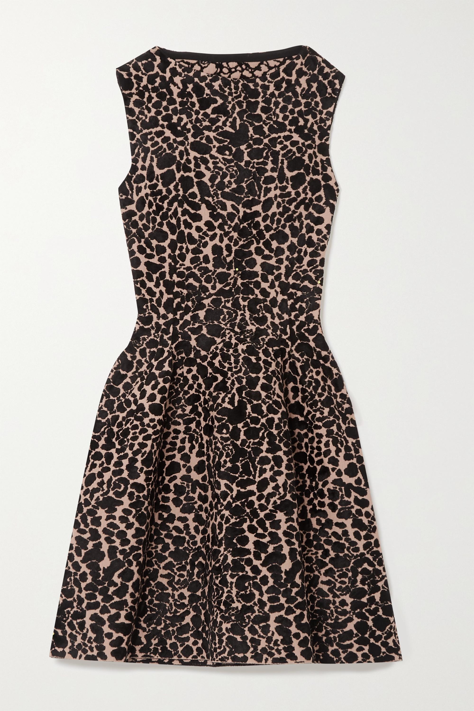 Alaïa Minikleid aus Jacquard-Strick mit Leopardenmuster