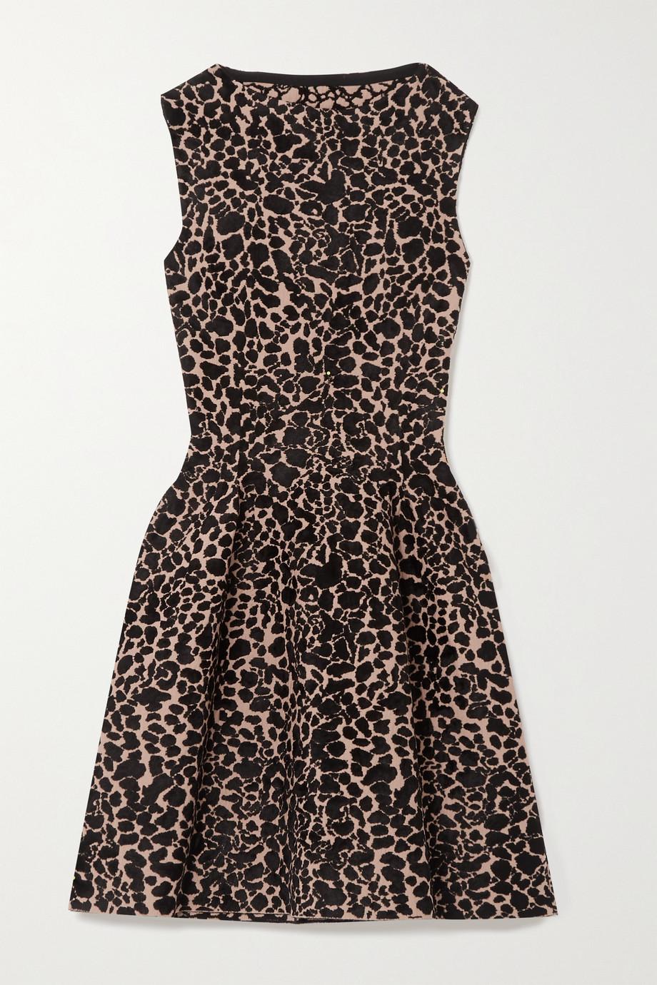 Alaïa Leopard jacquard-knit mini dress