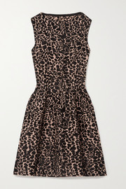 Alaïa Leopard jacquard-knit mini dress