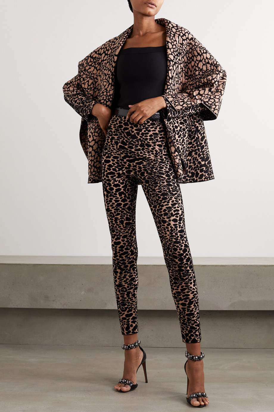 Alaïa Jacke aus Jacquard-Strick mit Leopardenprint und Überschlag