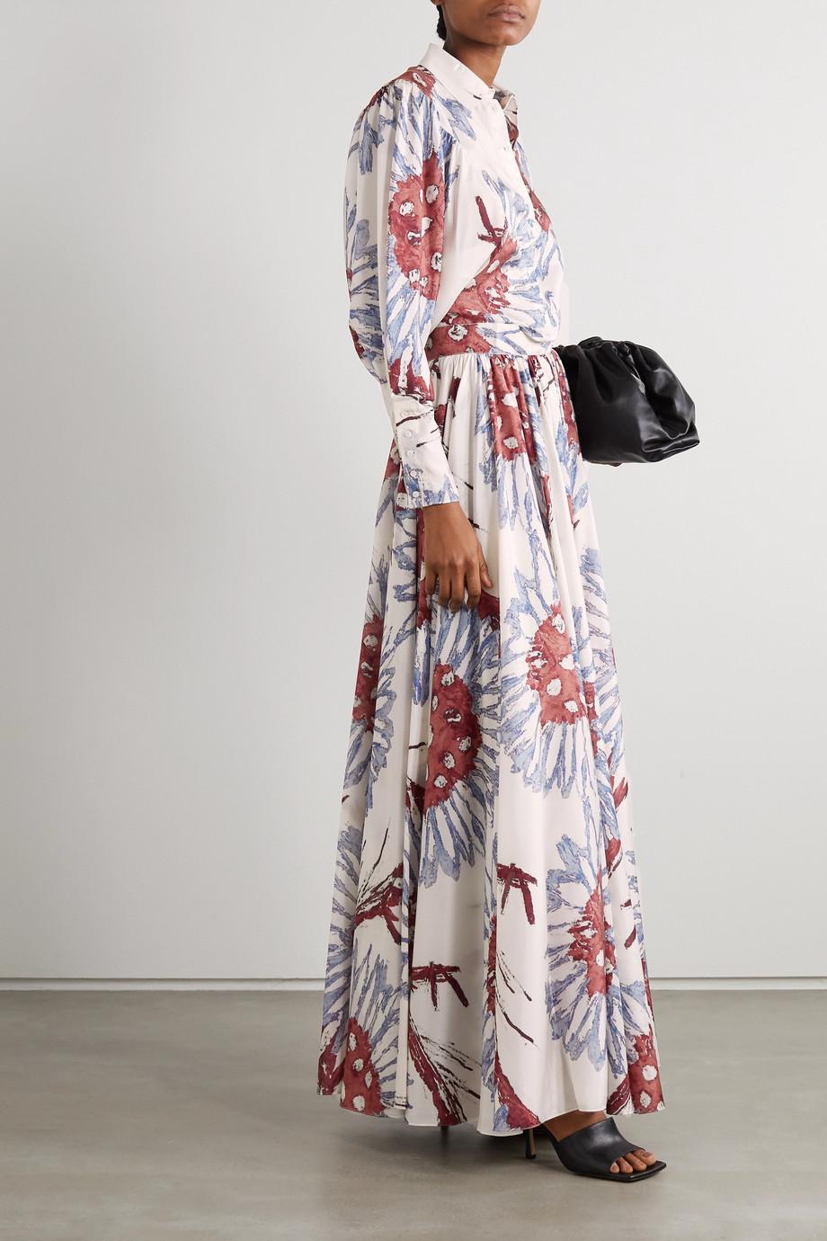Alaïa Jupe longue en crêpe de Chine de soie à imprimé fleuri