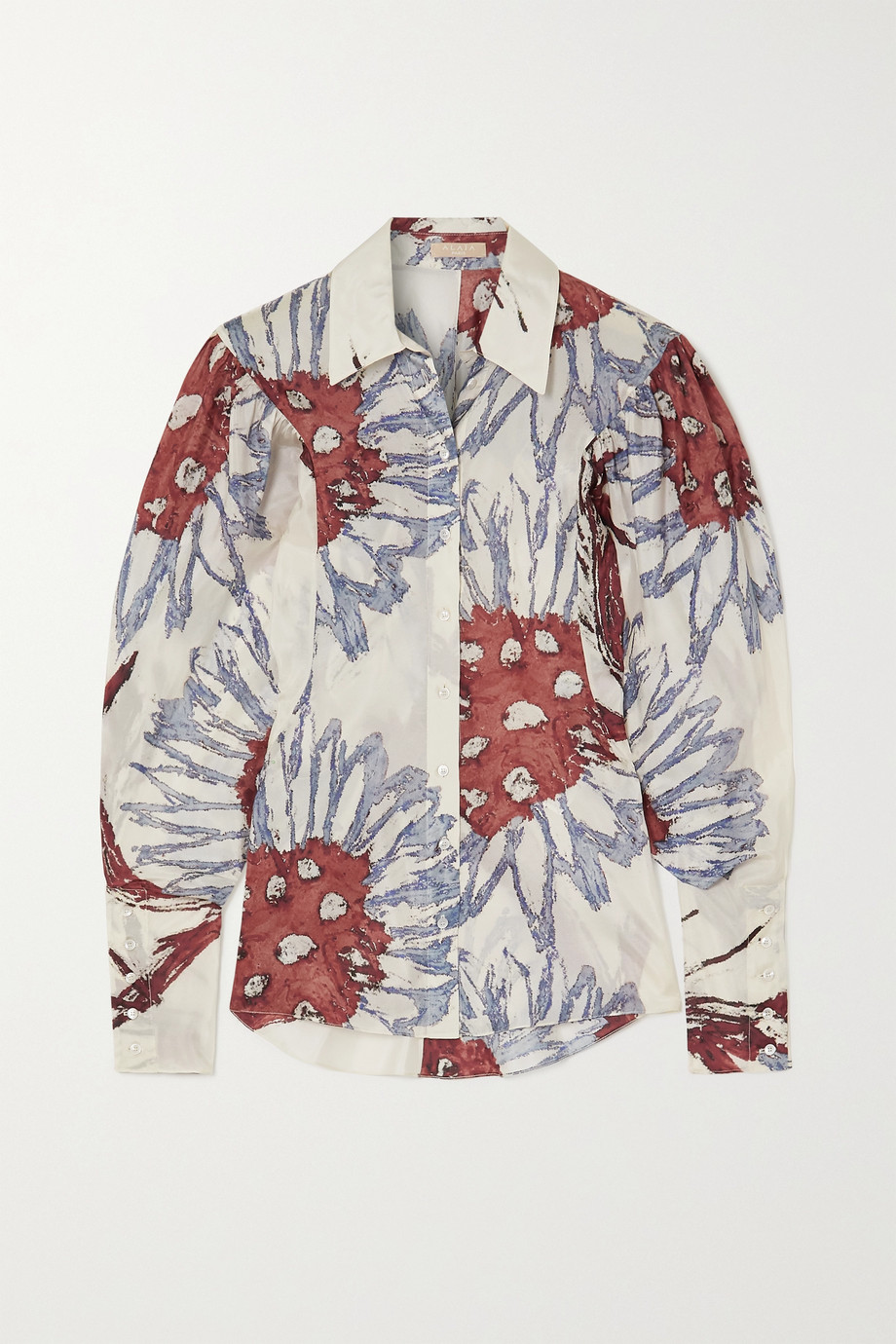 Alaïa Floral-print silk-habotai shirt