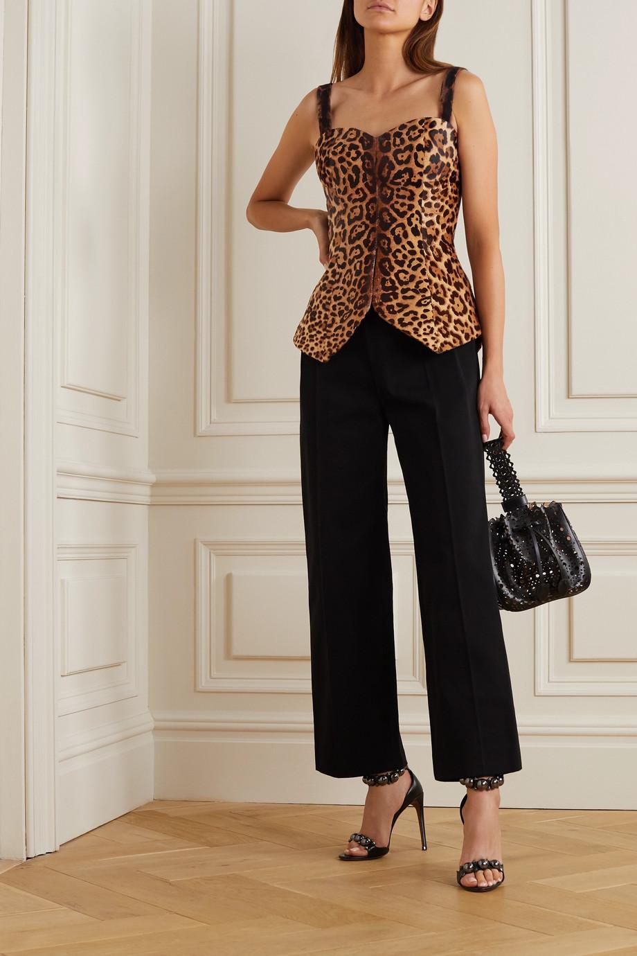 Alaïa Leopard-print calf hair bustier top